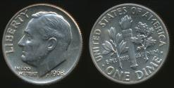 World Coins - United States, 1968-D Dime, Roosevelt - Uncirculated