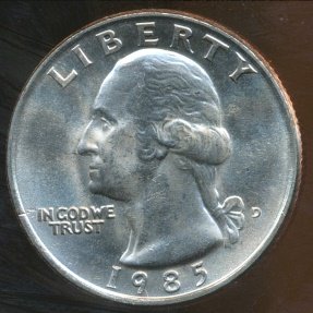World Coins - United States, 1985-D Quarter, 1/4 Dollar, Washington - Uncirculated