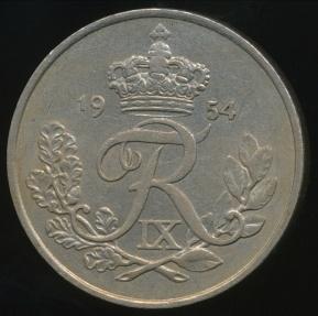 World Coins - Denmark, Kingdom, Frederik IX, 1954 25 Ore - Extra Fine