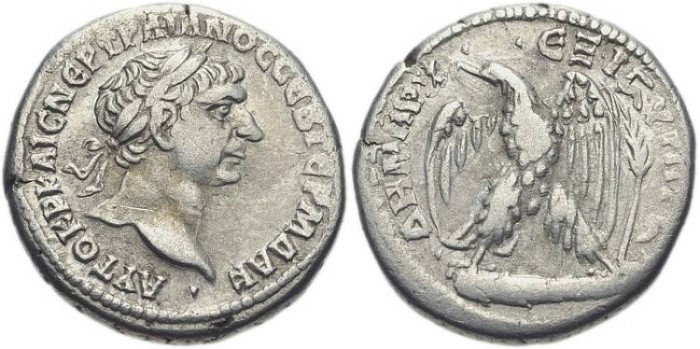 Ancient Coins -  PHOENICIA, Tyre. Trajan, AR Tetradrachm, AD 98-117, (25mm, 14.08 g, 6h). Dated Cos. 6 and RY 16 (AD 112) - Prieur 1505