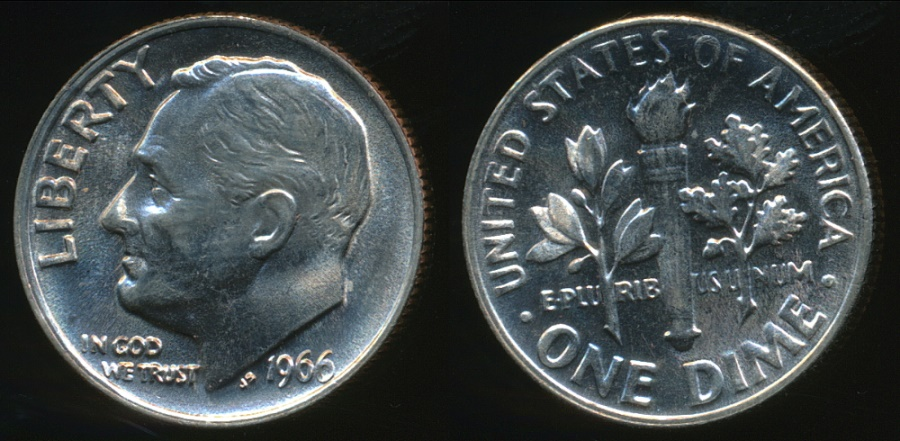 United States, 1966 Dime, Roosevelt - Choice Uncirculated