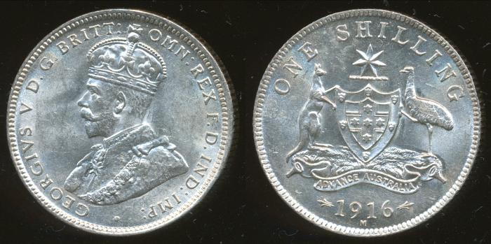 World Coins - AUSTRALIA - 1916 Shilling, George V - Unc