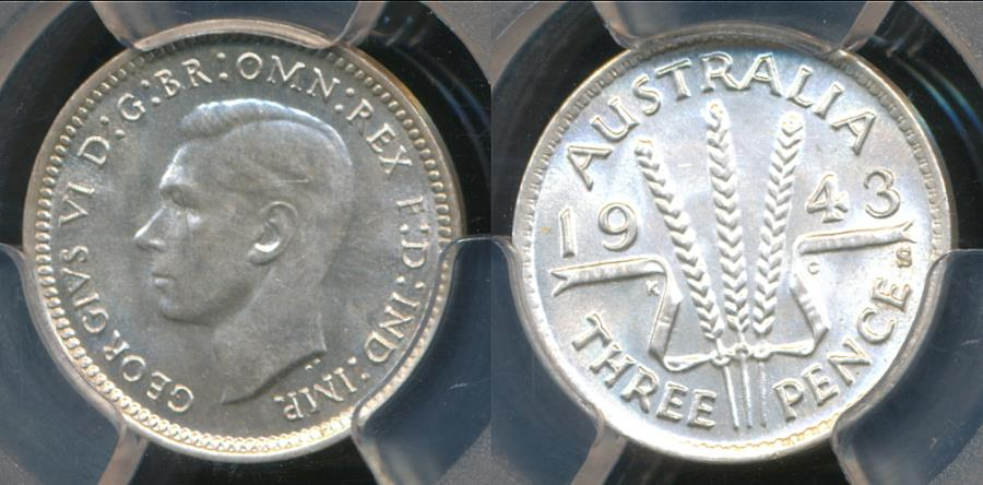 World Coins - Australia, 1943(s) Threepence, 3d, George VI (Silver) - PCGS MS63 (Ch-Unc)