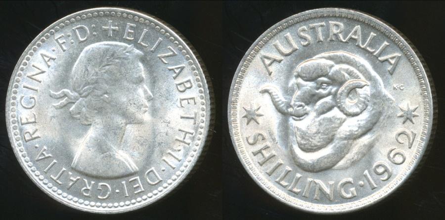 World Coins - Australia, 1962 One Shilling, Elizabeth II (Silver) - Uncirculated