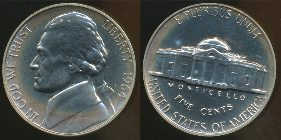 World Coins - United States, 1964 5 Cents, Jefferson Nickel - Proof