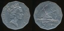Fiji, Republic, 1996 50 Cents, Elizabeth II - Very Fine