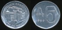 World Coins - Argentina, Republic, 1989 5 Australes - Uncirculated