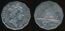 Fiji, Republic, 1997 50 Cents, Elizabeth II - Extra Fine