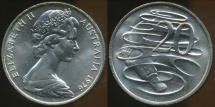 World Coins - Australia, 1976 Canberra 20 Cent, Elizabeth II - Choice Uncirculated