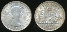 World Coins - Australia, 1960(m) Florin, 2/-, Elizabeth II (Silver) - almost Uncirculated