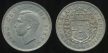 World Coins - New Zealand, 1948 1/2 Crown, George VI - Extra Fine