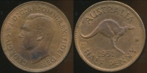 World Coins - Australia, 1951(pl) Halfpenny, George VI - almost Uncirculated