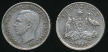 World Coins - Australia, 1948 Sixpence, 6d, George VI (Silver) - Fine