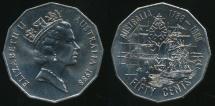 World Coins - Australia, 1988 Fifty Cents, 50c, Elizabeth II (Bicentennial) - Uncirculated