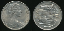 World Coins - Australia, 1966(L) Twenty Cents, 20c, Elizabeth II - Choice Uncirculated