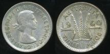 World Coins - Australia, 1960 Threepence, 3d, Elizabeth II (Planchet Flaw)(Silver) - Very Fine