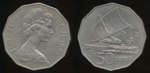 Fiji, Republic, 1981 50 Cents, Elizabeth II - Extra Fine