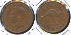 World Coins - Australia, 1941 Halfpenny, 1/2d, George VI - Extra Fine