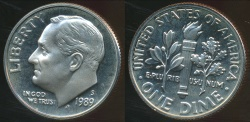 World Coins - United States, 1989-S Dime, Roosevelt - Proof