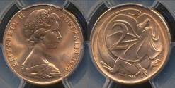World Coins - Australia, 1970 Two Cent, 2c, Elizabeth II - PCGS MS65RD (Gem Unc)