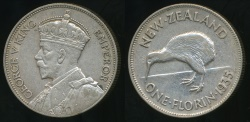 World Coins - New Zealand, 1935 Florin, 2/-, George V (Silver) - almost Extra Fine