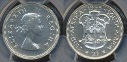 World Coins - South Africa, 1955 2 Shillings, Elizabeth II (Silver) - PCGS PR64 (Proof)