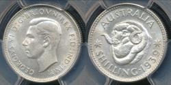 World Coins - Australia, 1939(m) One Shilling, 1/-, George VI (Silver) - PCGS MS62 (Unc)