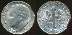 World Coins - United States, 1966 Dime, Roosevelt (Clipped Planchit Error) - Uncirculated