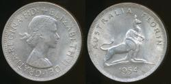 World Coins - Australia, 1954 Florin, 2/-, George VI (Royal Visit)(Silver) - Extra Fine
