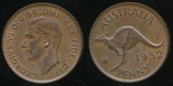 World Coins - Australia, 1952(p) One Penny, 1d, George VI - Uncirculated