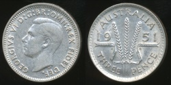 World Coins - Australia, 1951(m) Threepence, 3d, George VI (Silver) - Extra Fine