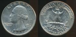 World Coins - United States, 1977-D Quarter, 1/4 Dollar, Washington - Uncirculated