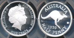 World Coins - Australia, 1999 Five Cents 5c 1939 1/2d (Silver) - PCGS PR69DCAM (Proof)