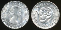World Coins - Australia, 1961 One Shilling, 1/-, Elizabeth II (Silver) - Uncirculated