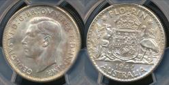 World Coins - Australia, 1944(s) Florin, 2/-, George VI (Silver) - PCGS MS62 (Unc)