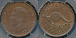 World Coins - Australia, 1950(p) One Penny, 1d, George VI - PCGS MS62BN (Unc)