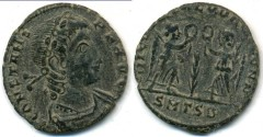 Ancient Coins - CONSTANS, AE-3, AD 337-350, Thessalonica mint, Struck 347-348 AD, (15mm, 1.45 gm) - RIC VIII 105