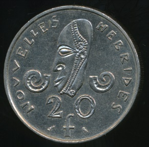 World Coins - New Hebrides, French/British Condominium, 1973 20 Francs - Extra Fine