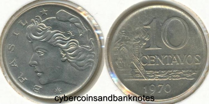 Ancient Coins - BRAZIL - 1970 10 Centavos, KM# 578.2 - BU