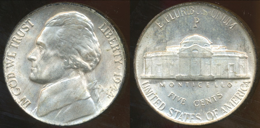 World Coins - United States, 1944-P 5 Cents, Jefferson Nickel (Silver) - Uncirculated