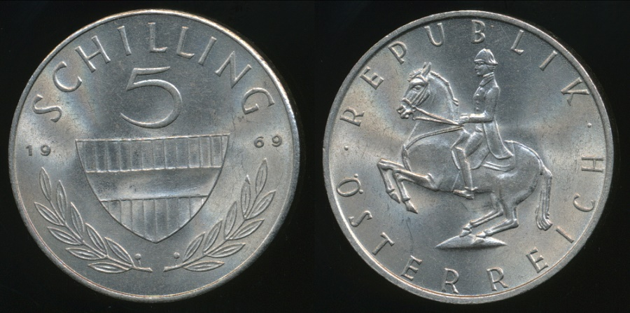 World Coins - Austria, Republic, 1969 5 Schilling - Uncirculated