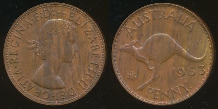 World Coins - AUSTRALIA - 1963-Y One Penny, Elizabeth II - Unc