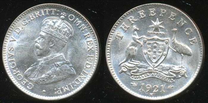 World Coins - AUSTRALIA - 1921(m) Threepence, George V - Ch-Unc