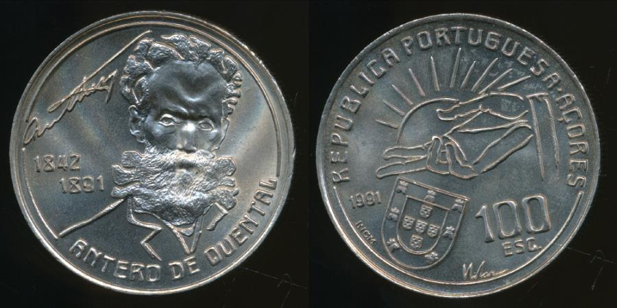 World Coins - Portugal, Republic, 1991 100 Escudos (Centenary of the death of Antero de Quental) - Choice Uncirculated