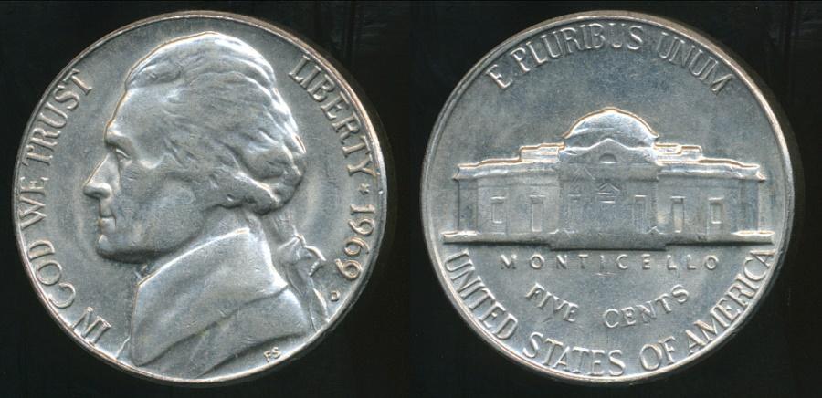 UNITED  STATES    5 Cents    1969 D    UNC    *