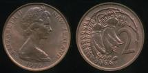 World Coins - New Zealand, 1976, Two Cents, 2c, Elizabeth II - Uncirculated
