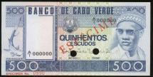 World Coins - Cape Verde, 1977 500 Escudos, Specimen Banknote - Uncirculated
