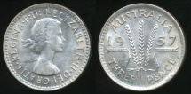 World Coins - Australia, 1957 Threepence, 3d, Elizabeth II (Silver) - Uncirculated