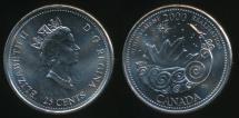 World Coins - Canada, Confederation, 2000 25 Cents, Elizabeth II (Achievement) - Uncirculated