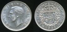 World Coins - New Zealand, 1946 1/2 Crown, George VI (Silver) - aUnc/Unc